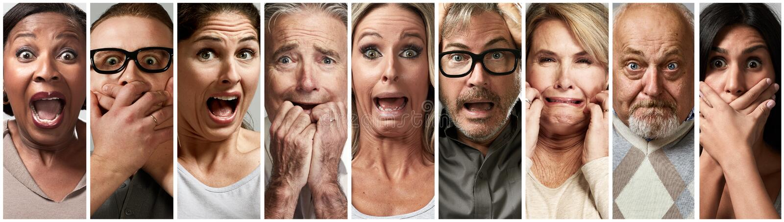 Scared fearful stressed people. Set stock image