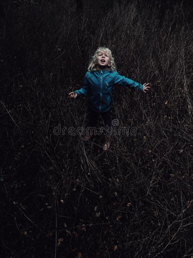 Free Scared Girl Lost In Wood Forest Looking Up Above. Child Cry Scream Ask For Help. Royalty Free Stock Image - 160415146