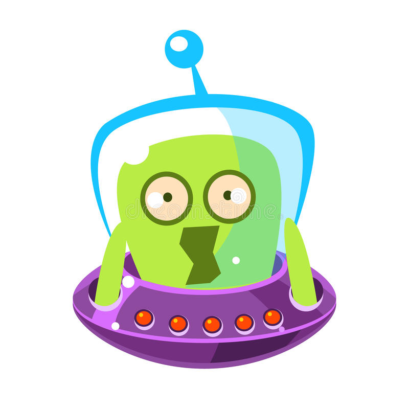 Scared green alien, cute cartoon monster. Colorful vector character vector illustration