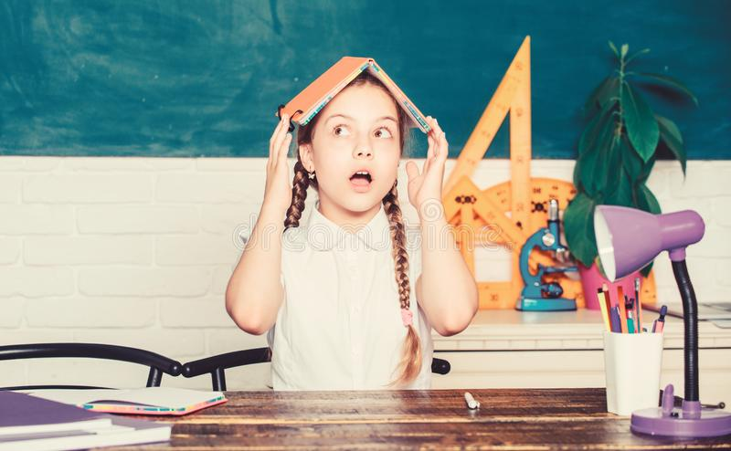 Scared kid. digital age with modern technology. back to school. future success is studying. small girl study with in. School. Formal informal and nonformal stock images