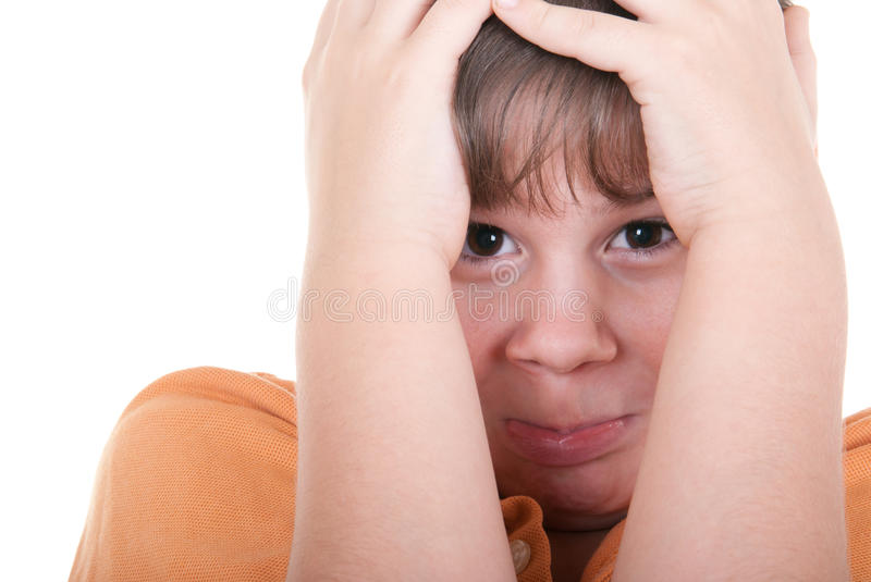Download Scared little boy stock photo. Image of expressions, cover - 12157722