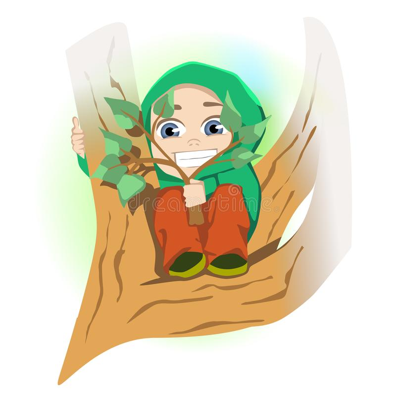 Scared little boy sitting on tree branch royalty free illustration