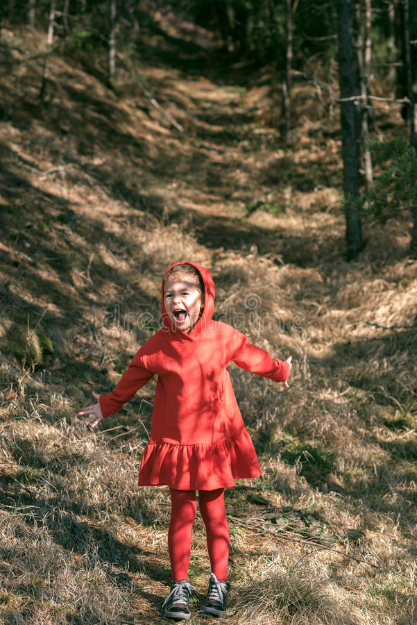 Scared little girl in the woods. Portrait of scared little girl in the woods royalty free stock photo