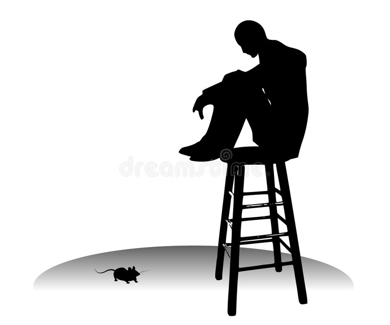 Scared of a Little Mouse Phobia stock images