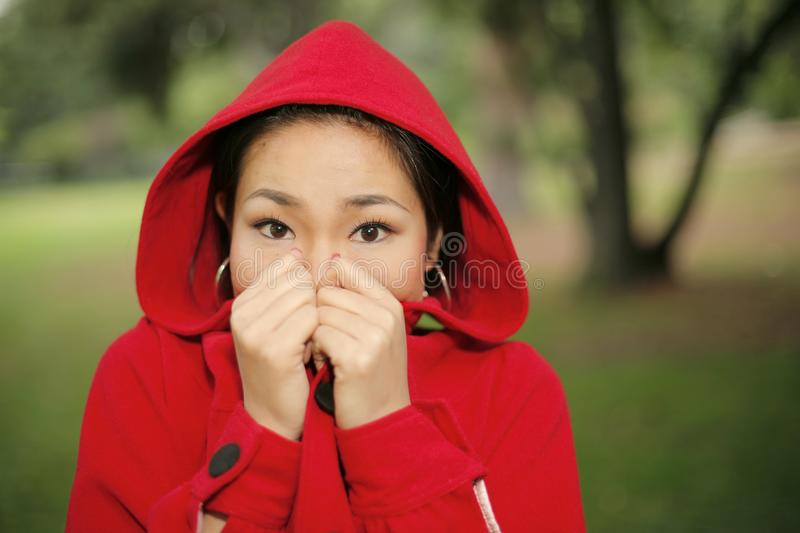 Scared Little Red Riding Hood royalty free stock images