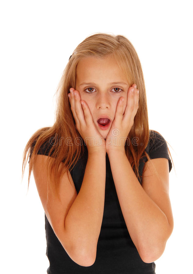 Scared Looking Young Girl. Stock Photo