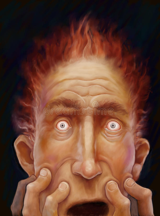 Scared male face stock illustration
