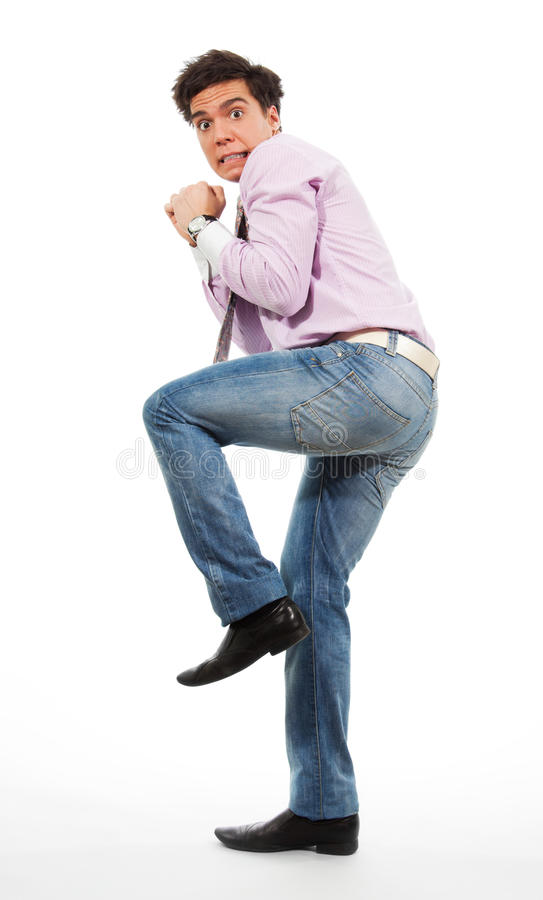 Scared man stock photography