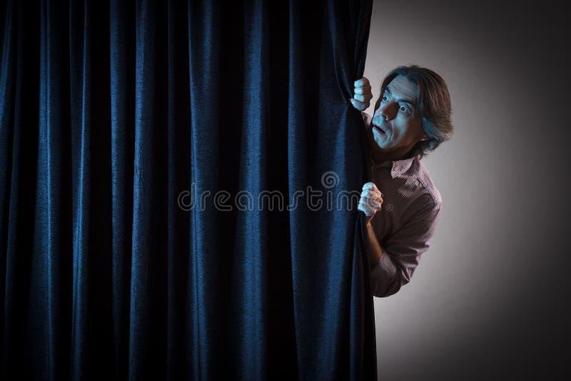 Scared man stock image