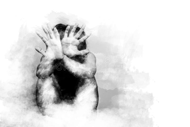 Scared man lift hand up for say stop, to protect himself. anti human trafficking campaign. black and white color painting brush stock image