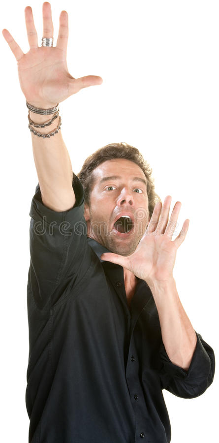 Scared Man Reaching. Up over white background royalty free stock image