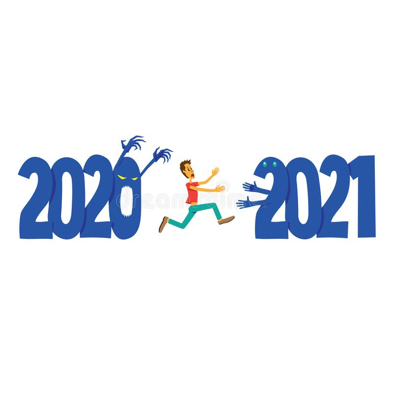 Free Scared Man Running Away From 2020 To 2021. New Year Concept. Royalty Free Stock Photos - 198228648