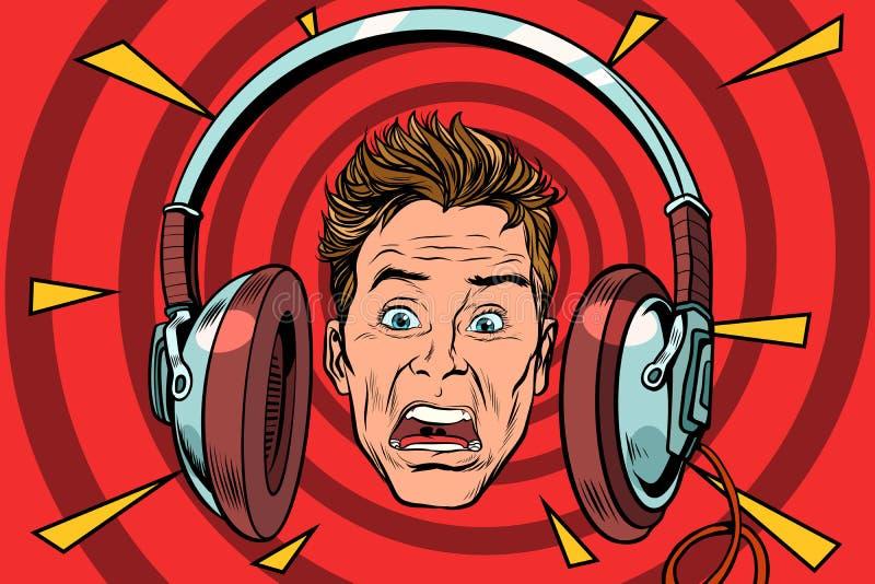 A scared man wearing headphones. Pop art retro vector illustration royalty free illustration