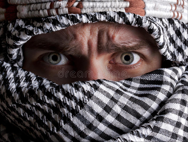 Scared Middle Eastern Man Looking To You Stock Image
