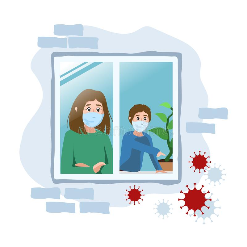 Free Scared Mother And Son In A Medical Mask Quarantined At Home. Self-isolation During An Epidemic. Coronavirus Protection. Illustrati Royalty Free Stock Photography - 176799497