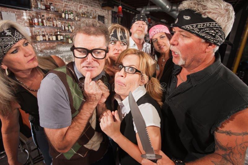 Download Scared Nerd Couple In Biker Bar Stock Photo - Image: 28774736