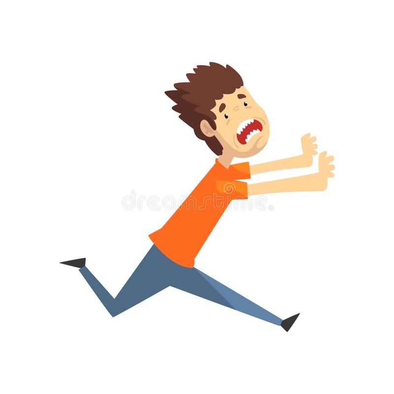 Scared and panicked young man running and shouting, emotional guy afraid of something vector Illustration on a white. Scared and panicked young man running and vector illustration