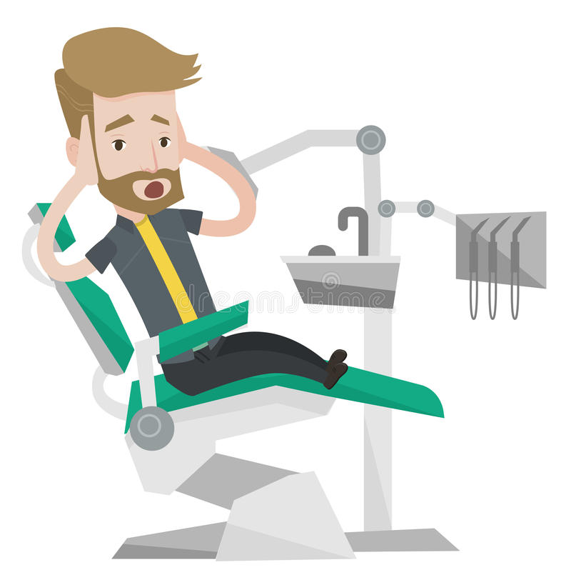 Scared patient in dental chair vector illustration. Frightened hipster patient at dentist office. Scared young man in dental clinic. Man visiting dentist. Afraid vector illustration