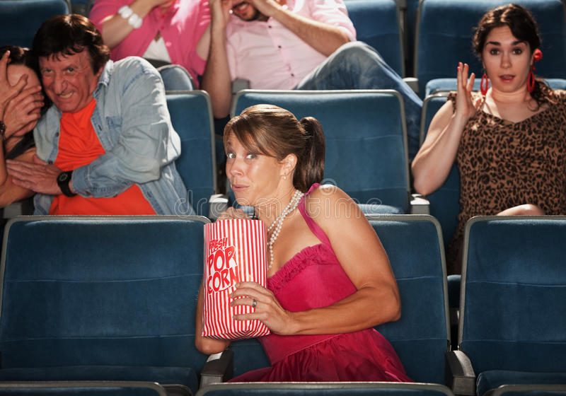 Download Scared People In Theater stock image. Image of snack - 22448373