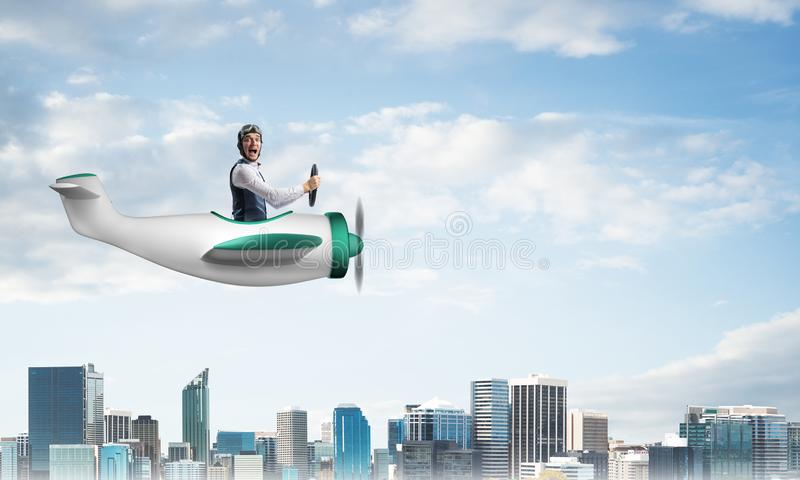 Scared pilot with open mouth in airplane royalty free illustration