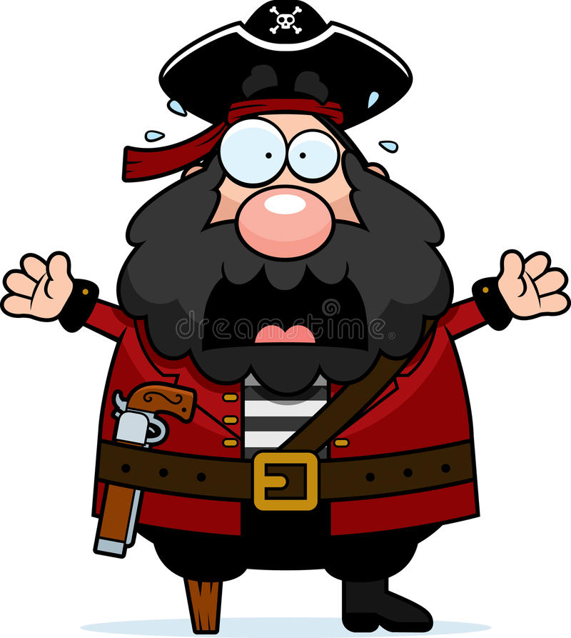 Scared Pirate royalty free illustration