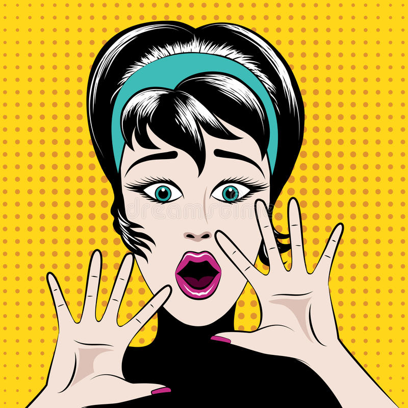 Scared pop art woman. With his mouth open and hands raised. Vector illustration