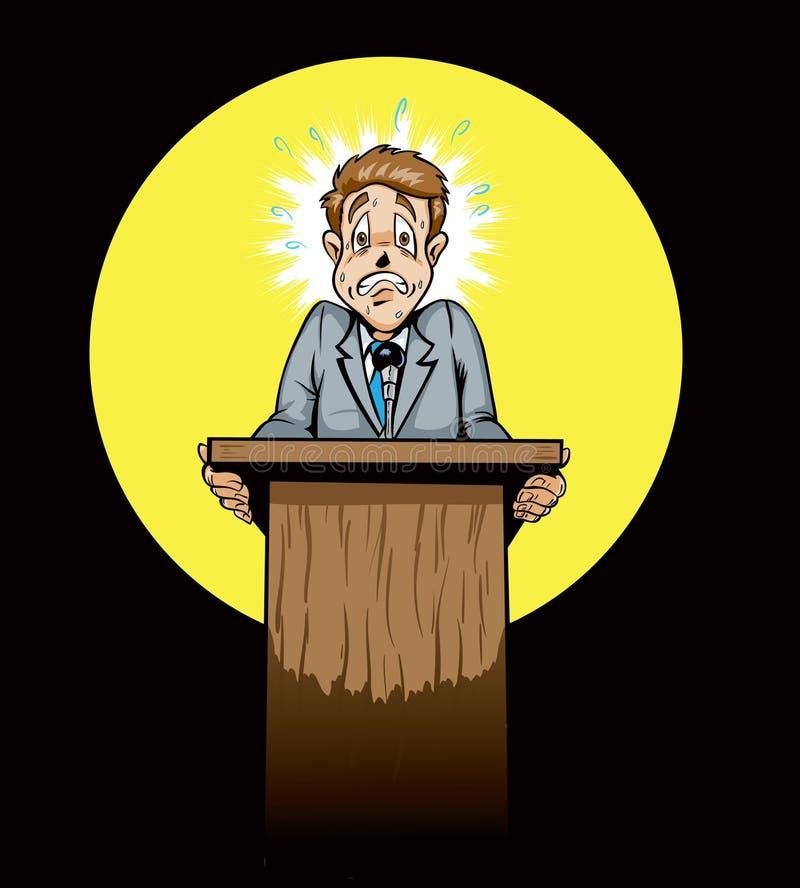 Scared public speaker/politician royalty free illustration