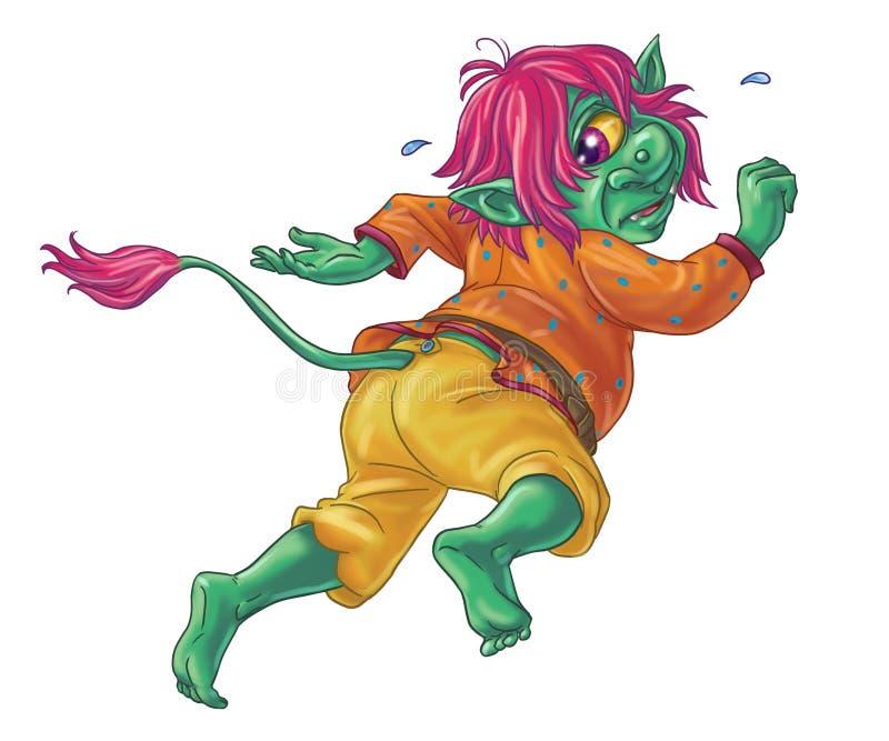 Scared running away green troll. Drawing of Scared running away green troll vector illustration
