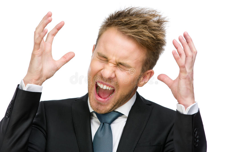 Scared and screaming manager with hands up royalty free stock photo