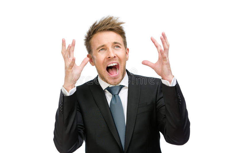 Scared and screaming white collar with hands up royalty free stock photos