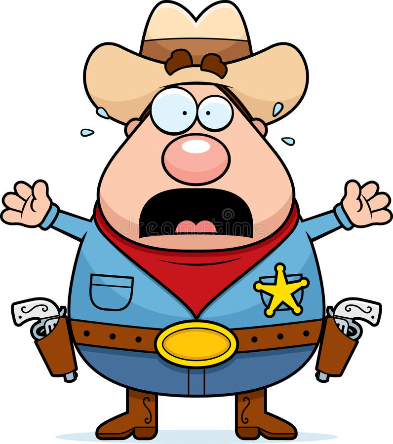 Scared Sheriff stock illustration