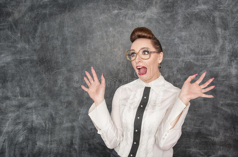 Scared teacher stock photo