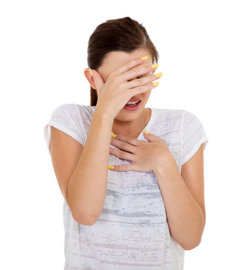Scared teen girl royalty free stock photo