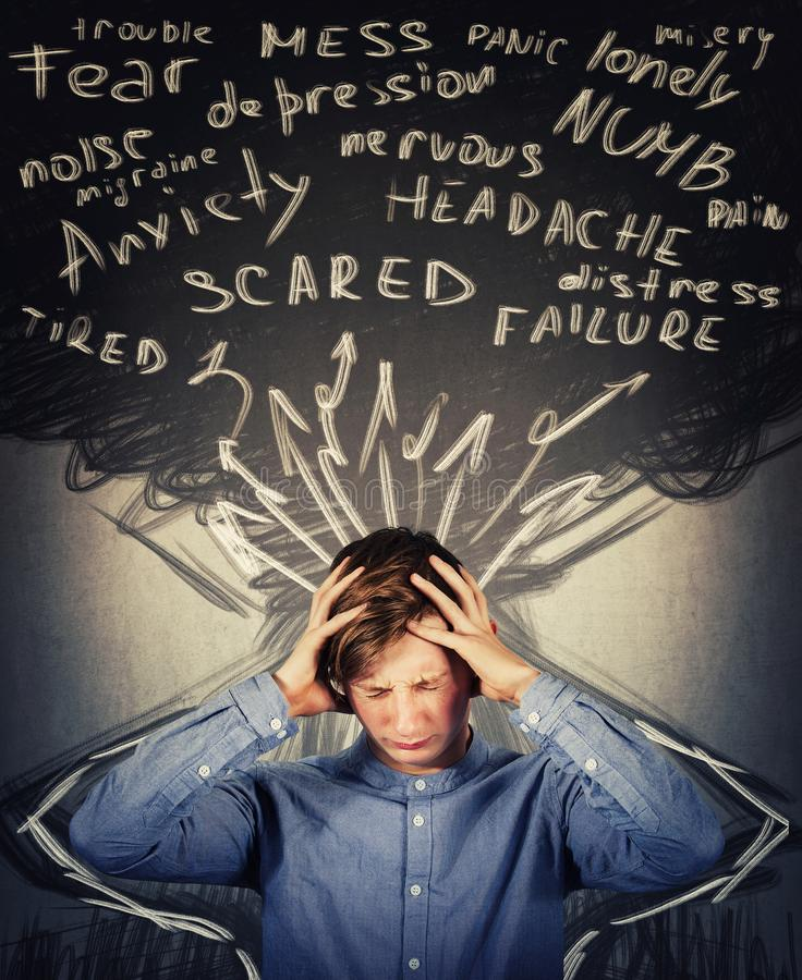 Free Scared Teenager Boy Mess In Head, Hands Covering Ears, Eyes Closed Feeling Pain, Headache And Emotional Stress. Anxiety, Mental Stock Photos - 160529633