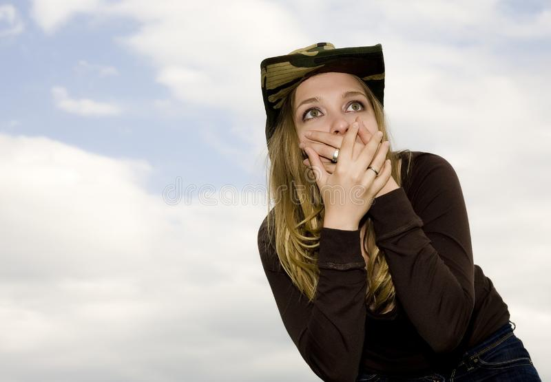The Scared Woman royalty free stock photos