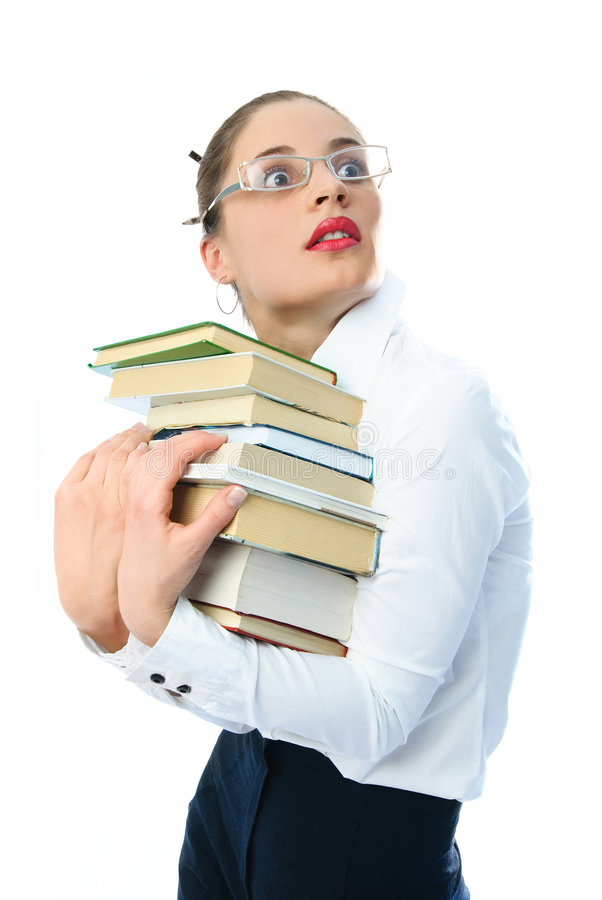 Scared woman with books royalty free stock photo