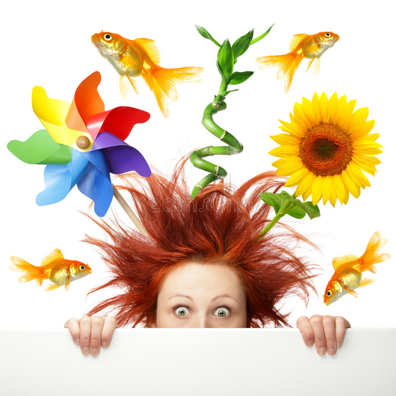 Download Scared Woman With Different Object  On Her Head Stock Image - Image of pinwheel, isolated: 26009813