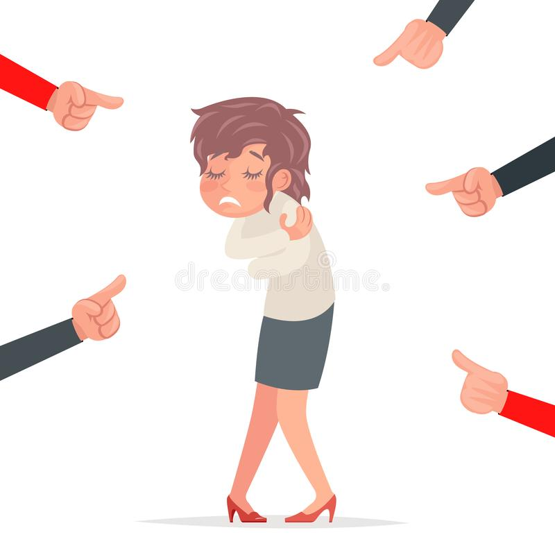 Scared woman helpless victim harassment pointing fingers fear female pain girl character isolated cartoon design vector. Scared woman helpless victim harassment stock illustration