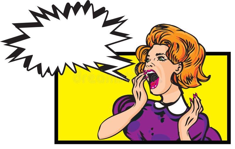 Scared woman - retro clip art Illustration with speech bubble vector illustration
