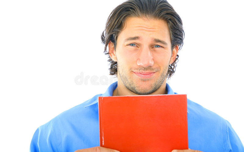 Scared Young Caucasian Male Holding Book stock image