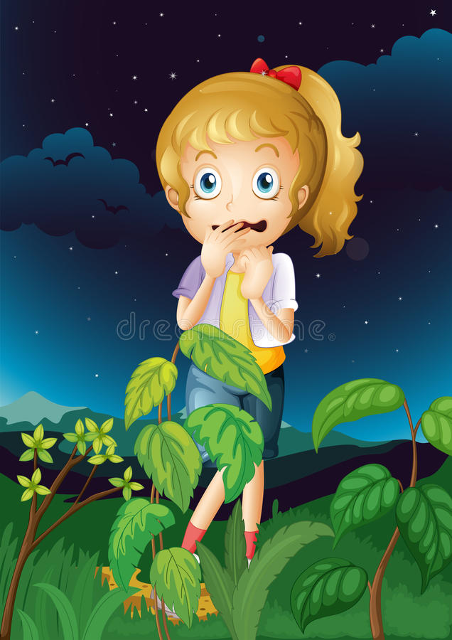 A scared young girl vector illustration