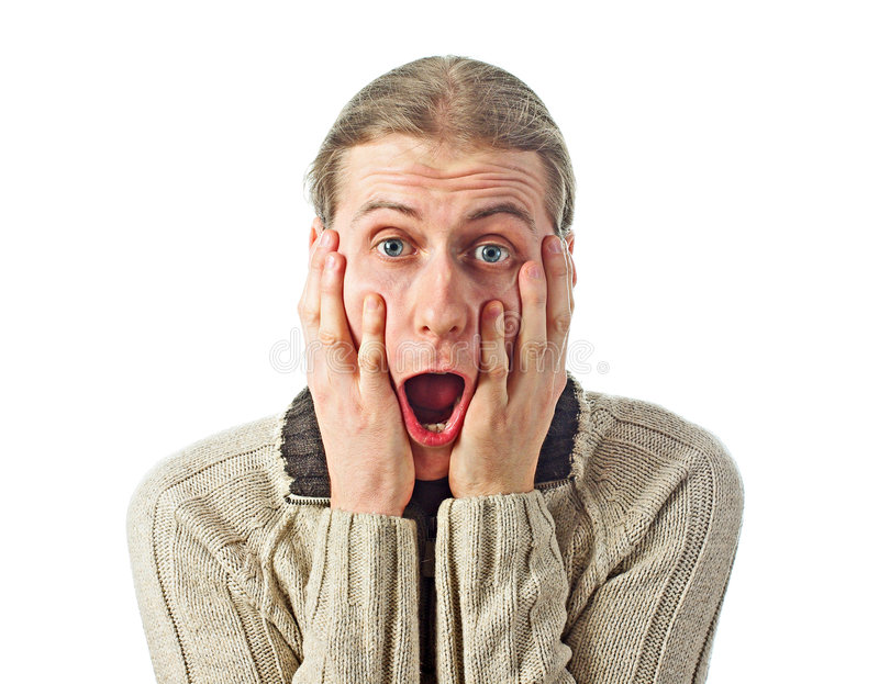Download Scared young man stock image. Image of liar, white, hand - 8958179