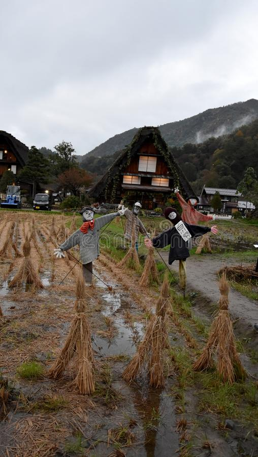 Scarescrows in the historic village of  Shirakawa-go stock photography