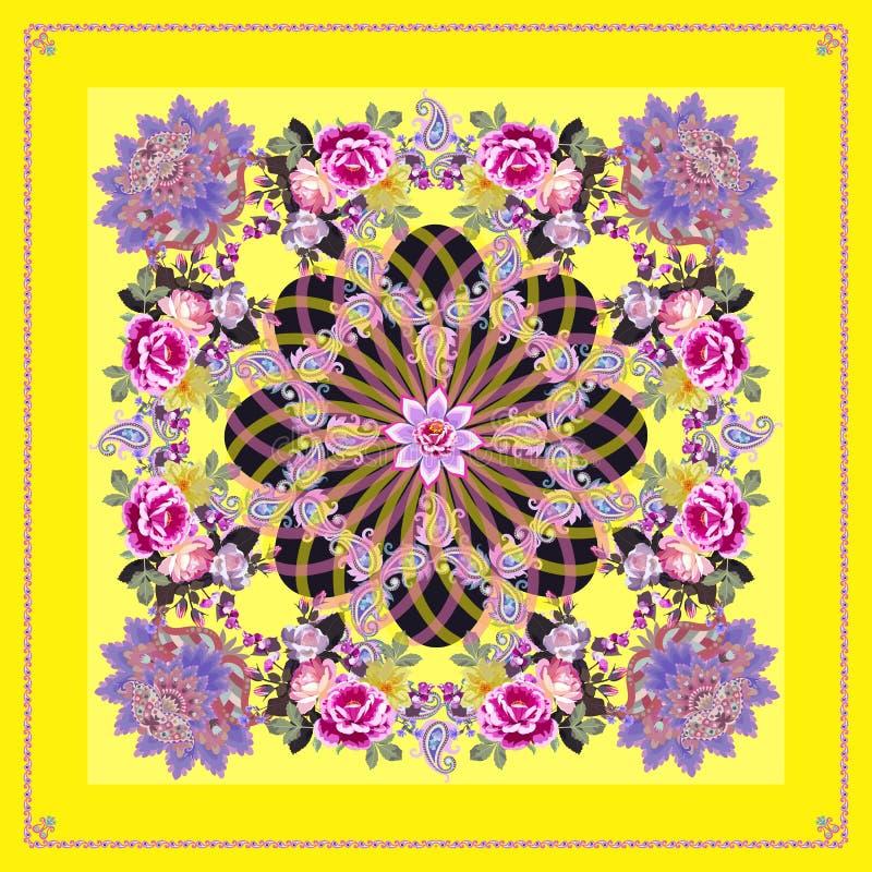 scarf av natursilke, bordsduk, kapkin eller näsduk med dekorativ ram, blombuketter av trädgårdsblommor, prydnadsblommor och manda royaltyfri illustrationer