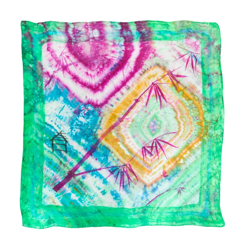 Scarf in batik technique with picture of bamboo royalty free illustration