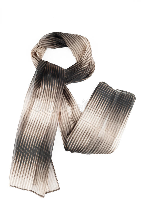 Scarf of brown and grey color on a white background. Scarf of brown and grey color isolated on white background stock images