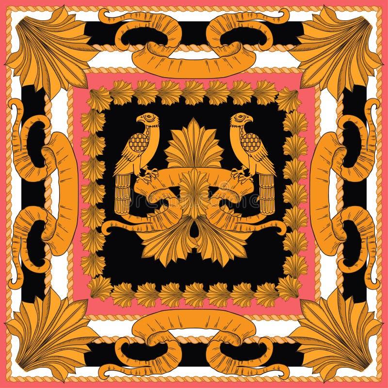 Scarf con modello di uccelli dorati e dettagli dell'oro illustrazione di stock