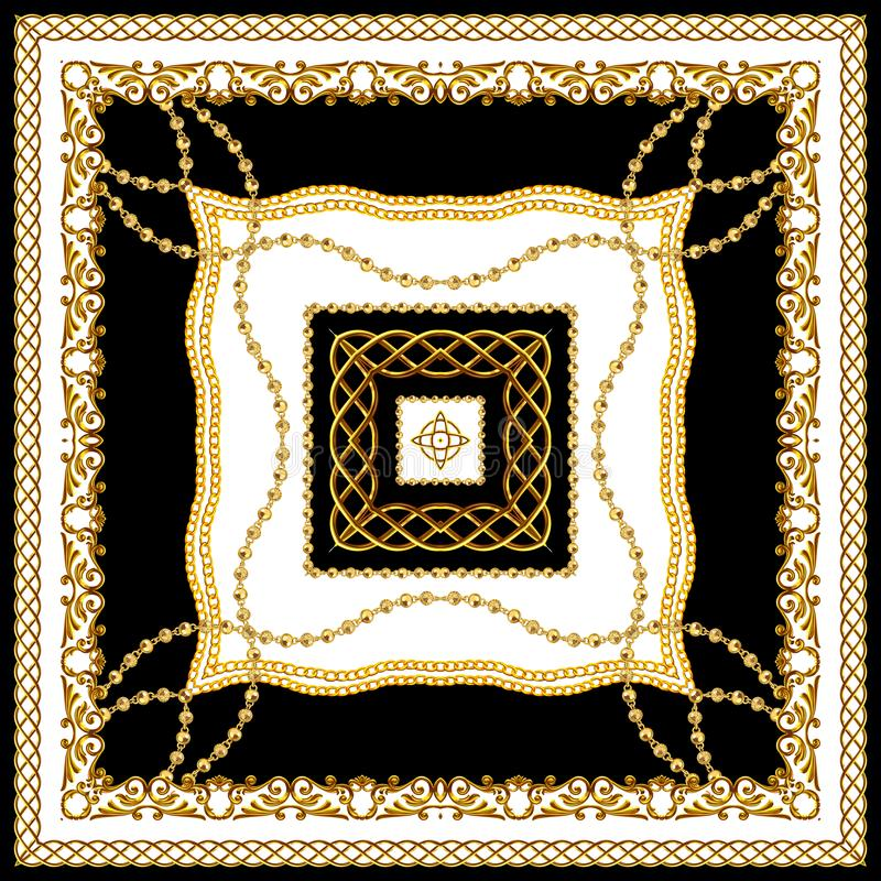 Scarf Design for Silk Print Złoty barok z łańcuchami, czarno-białe kolory Indyjski wzorzec stylu gotowy na tekstylia obraz royalty free