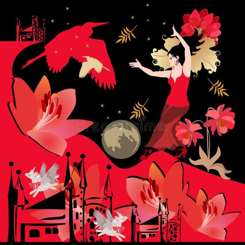 Scarf eller en vacker fyrkantig affisch med en dansande flicka, fantastiska vingade unicorns, slott, blommor, heron silhouettes vektor illustrationer