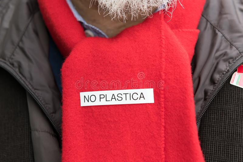 Scarf environmental italian activist with the inscription no plastic. concept of zero waste and no plastic royalty free stock images
